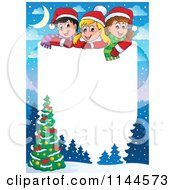 Cartoon Of A Border Of Happy Winter Children With A Christmas Tree And Copyspace Royalty Free Vector Clipart