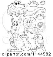 Cartoon Of A Cute Black And White Aussie Crocodile Frilled Lizard Kangaroo And Kookaburra With Plants And Boulders Royalty Free Vector Clipart by visekart