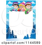 Cartoon Of A Border Of Happy Winter Christmas Children With Copyspace Royalty Free Vector Clipart