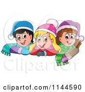 Cartoon Of Happy Winter Christmas Children With Hats And Scarves Royalty Free Vector Clipart