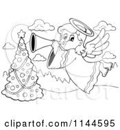 Cartoon Of A Black And White Christmas Angel Bowing A Horn Over A Christmas Tree Royalty Free Vector Clipart