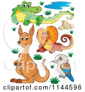Cartoon Of A Cute Aussie Crocodile Frilled Lizard Kangaroo And Kookaburra With Plants And Boulders Royalty Free Vector Clipart by visekart