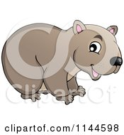 Cartoon Of A Cute Aussie Wombat Royalty Free Vector Clipart by visekart #COLLC1144598-0161