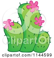 Cartoon Of A Green Cactus Plant With Pink Flowers Royalty Free Vector Clipart by visekart