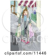 Sad Woman Carrying Shopping Bags In Pouring Rain Clipart Illustration