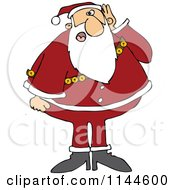 Cartoon Of Santa Covering His Ear And Asking Someone To Repeat Royalty Free Vector Clipart