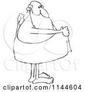 Cartoon Of A Black And White Santa Drying Off With A Towel Royalty Free Vector Clipart