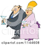 Cartoon Of A Dressed Up Man And Woman Holding Martinis Royalty Free Vector Clipart