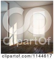 Clipart Of Daylight Shining In Through Windows Of An Empty 3d Room With Wood Floors 3 Royalty Free CGI Illustration by Mopic