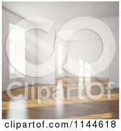 Clipart Of Daylight Shining In Through Windows Of An Empty 3d Room With Wood Floors 2 Royalty Free CGI Illustration