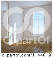 Clipart Of Daylight Shining In Through Windows Of An Empty 3d Room With Wood Floors 1 Royalty Free CGI Illustration by Mopic