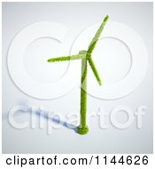 Clipart Of A 3d Green Wind Energy Windmill Made Of Leaves With A Shadow Royalty Free CGI Illustration by Mopic