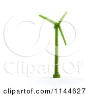 Clipart Of A 3d Green Wind Energy Windmill Made Of Leaves Royalty Free CGI Illustration by Mopic