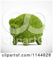 Clipart Of A 3d Green Leafy Piggy Bank Royalty Free CGI Illustration by Mopic