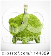 Clipart Of A 3d Green Leafy Piggy Bank With A Dollar Bill Royalty Free CGI Illustration