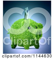 Clipart Of A 3d Green Leafy Piggy Bank With A Euro Bill Royalty Free CGI Illustration by Mopic