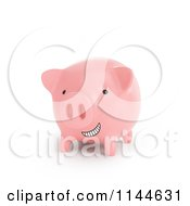 Clipart Of A 3d Grinning Pink Piggy Bank Royalty Free CGI Illustration by Mopic