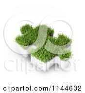 Clipart Of A 3d Grassy Puzzle Piece Royalty Free CGI Illustration by Mopic