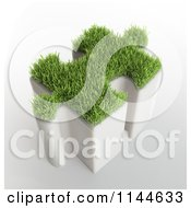 Clipart Of A 3d Tall Grassy Puzzle Piece Royalty Free CGI Illustration by Mopic