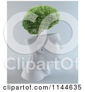 Clipart Of A 3d Tree Growing From A White Head In Profile Royalty Free CGI Illustration