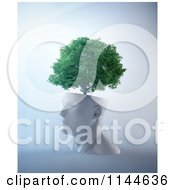 Clipart Of A 3d Tree Growing From A White Head Royalty Free CGI Illustration