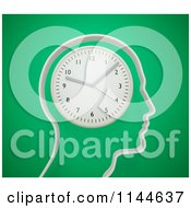 Clipart Of A 3d Head Outline With A Wall Clock For A Brain Royalty Free CGI Illustration