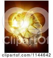 3d Bursting Stone Head And Light