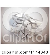 Clipart Of A 3d Shattered Stone Head Royalty Free CGI Illustration