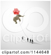 Clipart Of 3d Tiny Businessmen Holding A Rope To A Floating Elephant Royalty Free CGI Illustration