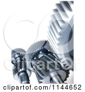 Clipart Of 3d Silver Mechanical Gear Cogs Royalty Free CGI Illustration