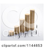 Clipart Of 3d Tiny People At A Graph Of Stacked Gold Coins Royalty Free CGI Illustration