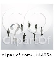 Clipart Of 3d Tiny Businessman Standing Around A Question Mark Trying To Solve A Problem Royalty Free CGI Illustration by Mopic