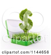 Clipart Of A 3d Green Dollar Symbol In A Grassy Briefcase Royalty Free CGI Illustration