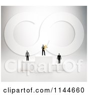 Clipart Of 3d Tiny Men Standing On Placement Podiums With The Winner Holding A Gold Trophy Royalty Free CGI Illustration