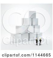 Clipart Of 3d Construction Builder Engineers Discussing Blocks Royalty Free CGI Illustration