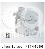 Clipart Of 3d Architect Builders Discussing A Puzzle House Royalty Free CGI Illustration