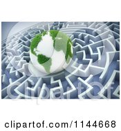 Clipart Of A 3d Grassy Earth In The Center Of A Maze Royalty Free CGI Illustration by Mopic