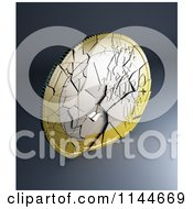 Clipart Of A 3d Shattering Euro Coin 2 Royalty Free CGI Illustration by Mopic