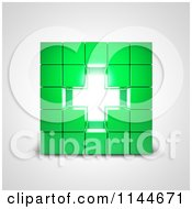 Clipart Of A 3d Bright Cross In The Center Of Stacked Green Cubes Royalty Free CGI Illustration