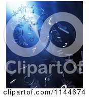 Clipart Of 3d Letters Floating Over Blue Lights Royalty Free CGI Illustration by Mopic