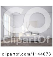 Clipart Of A 3d White Simple Bedroom Interior With Daylight Royalty Free CGI Illustration