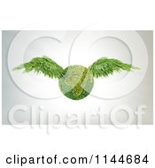 Clipart Of A 3d Leafy Earth With Green Wings Royalty Free CGI Illustration