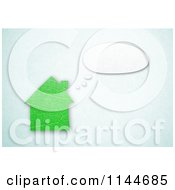 Clipart Of A 3d Green Leaf House With A Though Balloon Royalty Free CGI Illustration