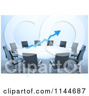 Clipart Of A 3d Blue Arrow Over A Meeting Table Royalty Free CGI Illustration