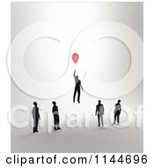 Clipart Of 3d Businessmen Watching Another Float Away With A Balloon Royalty Free CGI Illustration