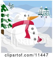 Snowman With A Carrot Nose In A Winter Landscape Clipart Illustration