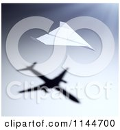Clipart Of A 3d Paper Airplane With A Shadow Of A Jet Royalty Free CGI Illustration
