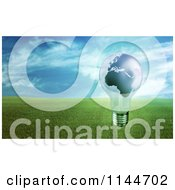 Clipart Of A 3d Globe Light Bulb Over A Field Of Green Grass Royalty Free CGI Illustration