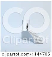 Clipart Of A 3d Tiny Man Walking Through A Door At The Top Of Stairs Royalty Free CGI Illustration