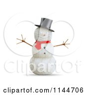 Clipart Of A 3d Smiling Snowman With A Top Hat And Red Scarf Royalty Free CGI Illustration